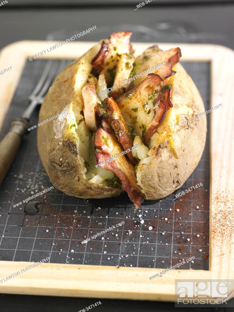Stock Photo: patata asada pulpo / roasted octopus potato.
