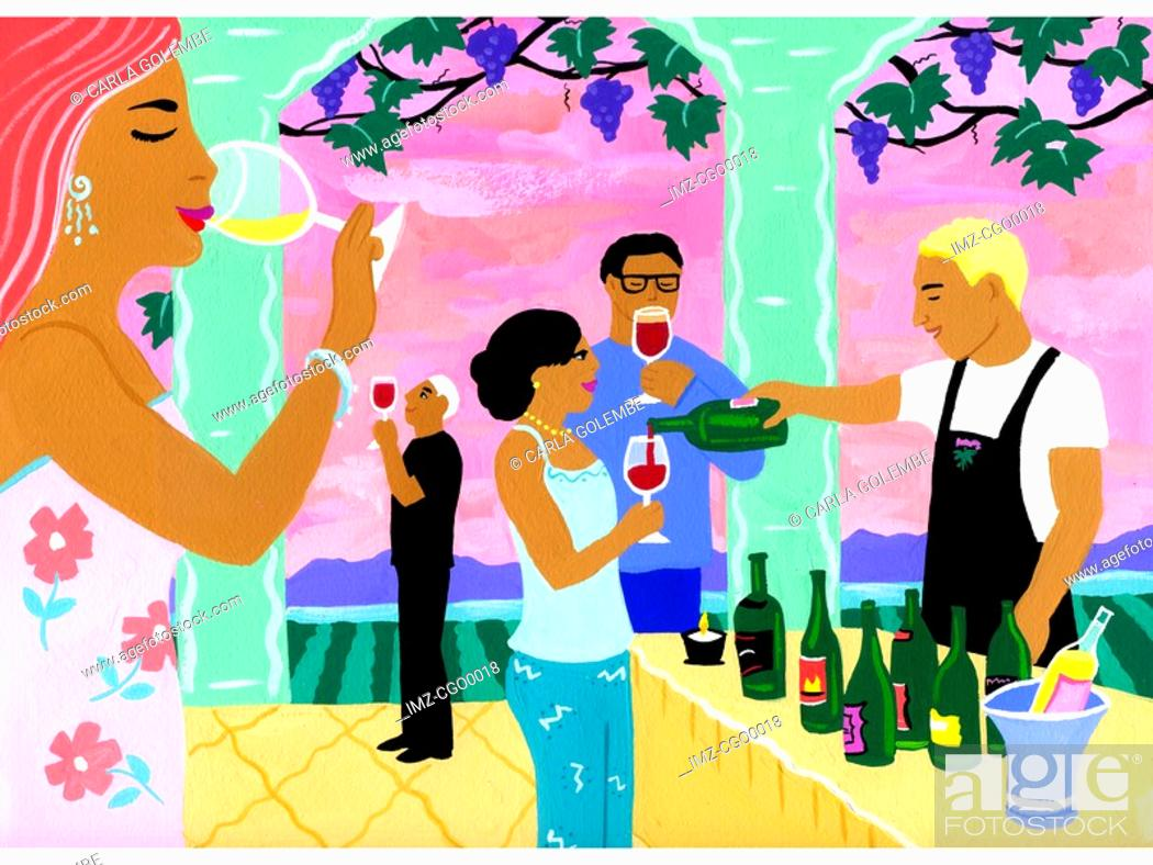 Stock Photo: A painting of a wine tasting.