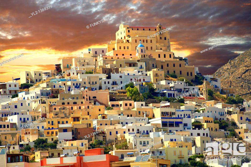Stock Photo: The Venitian City qurter of Ano Syros topped by the Catholic basilica of San Giorgio, Syros  S  , Greek Cyclades Islands.