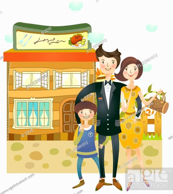 Stock Photo: portrait of family going for dinner at restaurant.