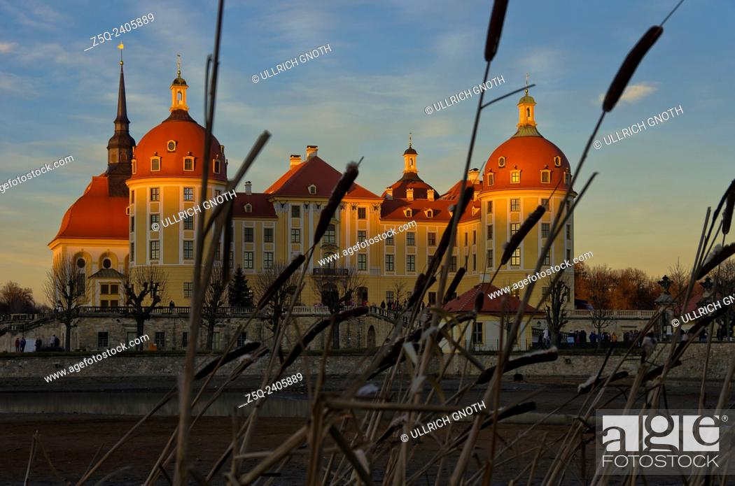 Stock Photo: Moritzburg Castle near Dresden, Saxony, Germany, at sunset as seen as from the South.