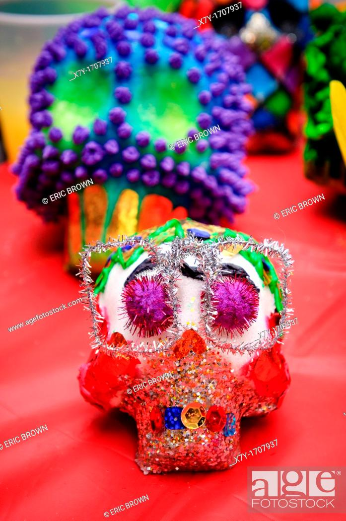 Stock Photo: Sugar skulls are a tradition in Mexico and made on Day of the Dead, which is the day after Halloween.
