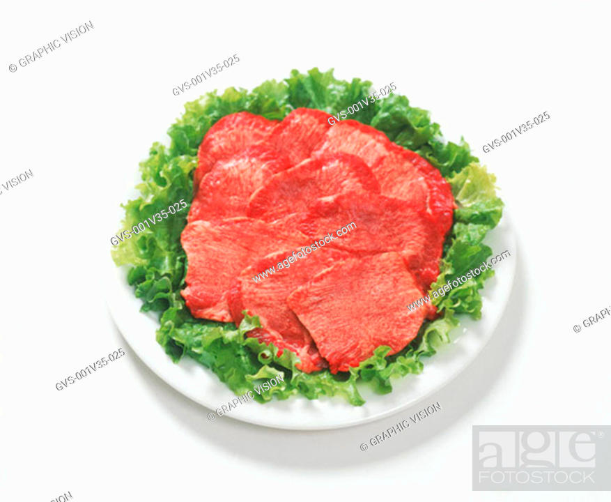 Stock Photo: Plate of Uncooked Beef Tongue.