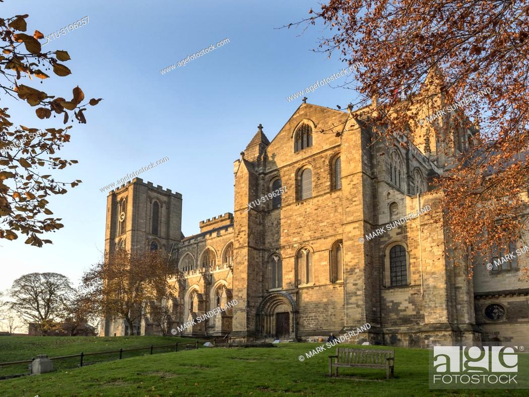 Stock Photo: Ripon Cathedral at sunset in autumn Ripon North Yorkshire England.