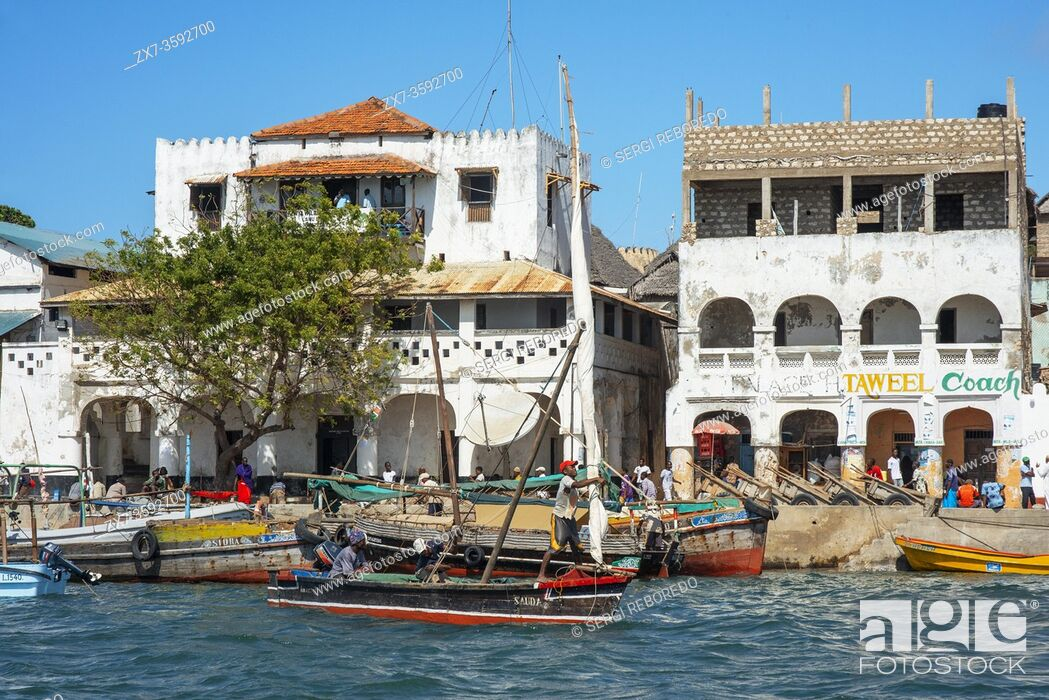 Stock Photo: Boats in the Lamu waterfront, Kenya, Lamu island UNESCO World Heritage site.