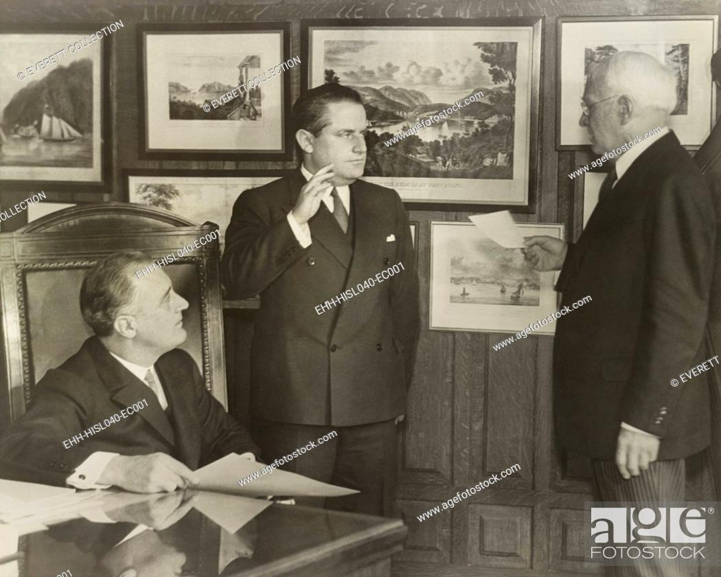 Stock Photo: Samuel Irving Rosenman sworn in as New York State Supreme Court justice. March 24, 1932. At left is Governor Franklin Roosevelt for whom Rosenman wrote speeches.