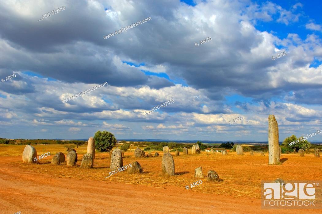 Stock Photo: Cromeleque de Xarez, Megalithic Site near Monsaraz, Telheiro, Evora district, Alentejo, Portugal, Europe.
