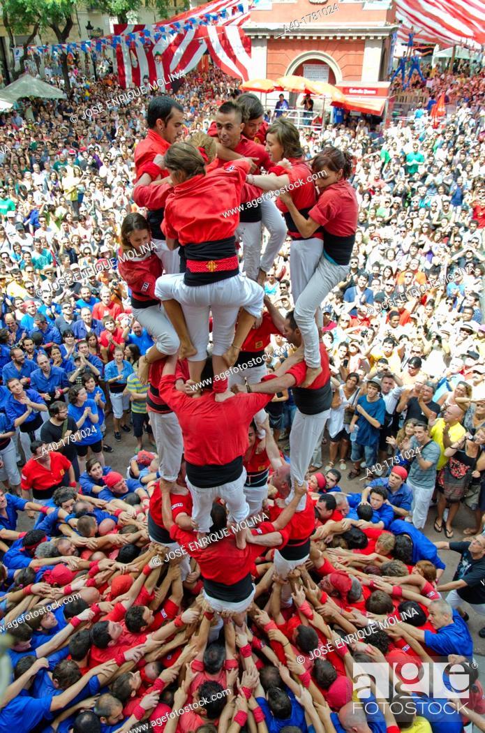 Stock Photo: Castellers festival in Barcelona.