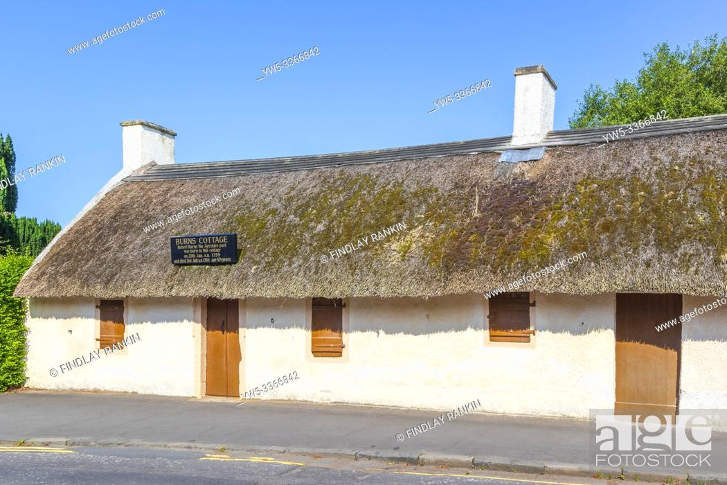 Stock Photo: Burns Cottage, the first home of Robert Burns is located in Alloway, South Ayrshire, Scotland. It was built by his father, William Burness in 1757.