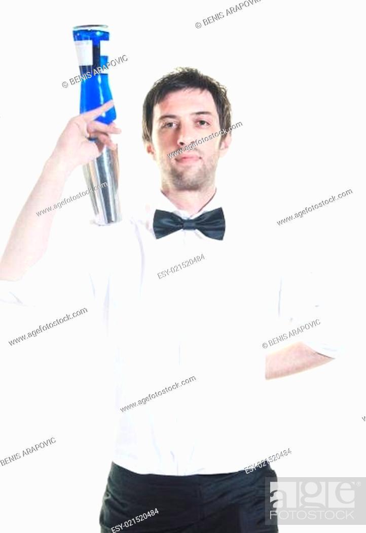 Stock Photo: barman portrait isolated on white background.
