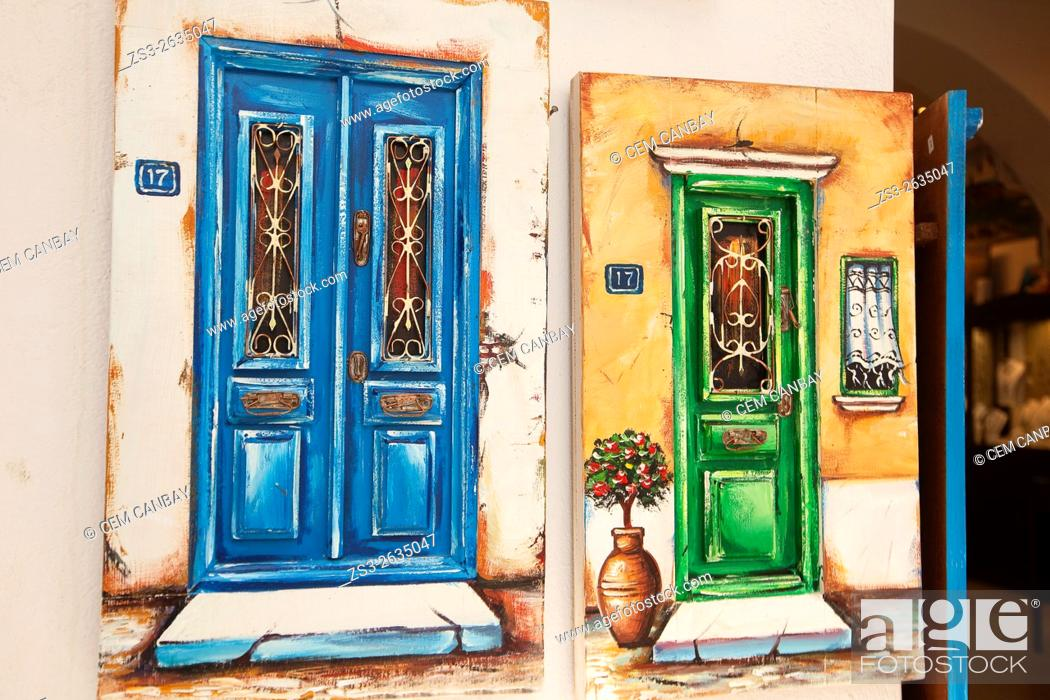 Stock Photo: Paintings of old doors at the entrance of a shop, Mykonos, Cyclades Islands, Greek Islands, Greece, Europe.