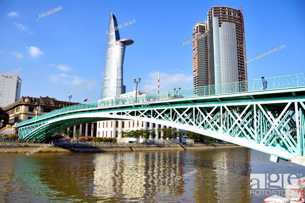 Stock Photo: Rainbow Bridge and Bitexco Financial Tower, Ho Chi Minh City, Vietnam.