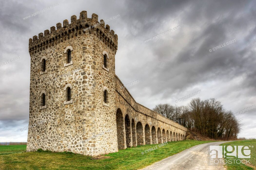 Stock Photo: Conde-sur-Marne Tower, a listed pumping station built in the 19th century, Marne, Champagne Ardennes, France.