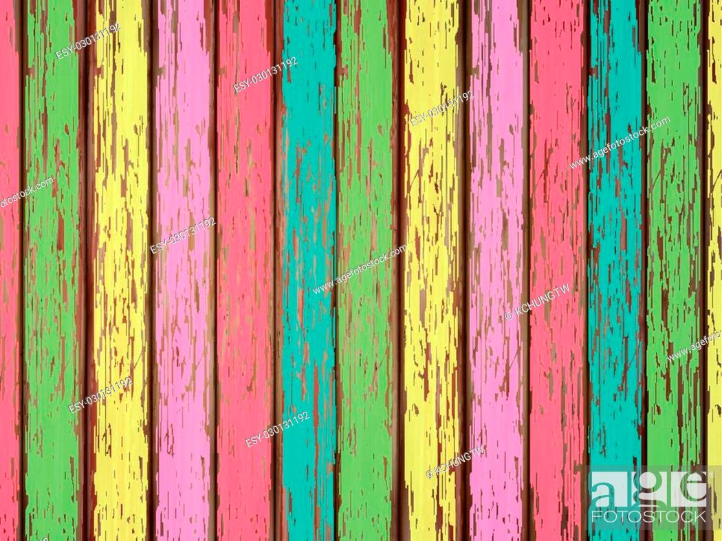 Stock Vector: close-up look at colorful painted wooden background.