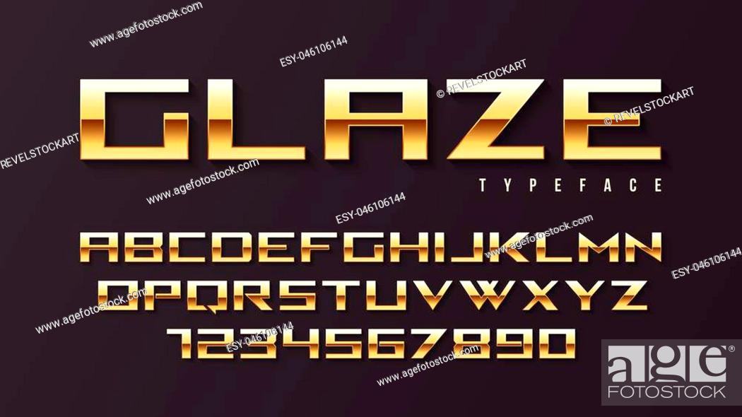 Stock Vector: Glaze vector shiny golden display font design, alphabet, character set, typeface, typography, letters and numbers. Swatch color control.
