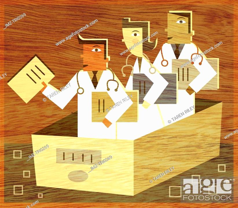 Stock Photo: Three doctors holding files standing in a filing box.