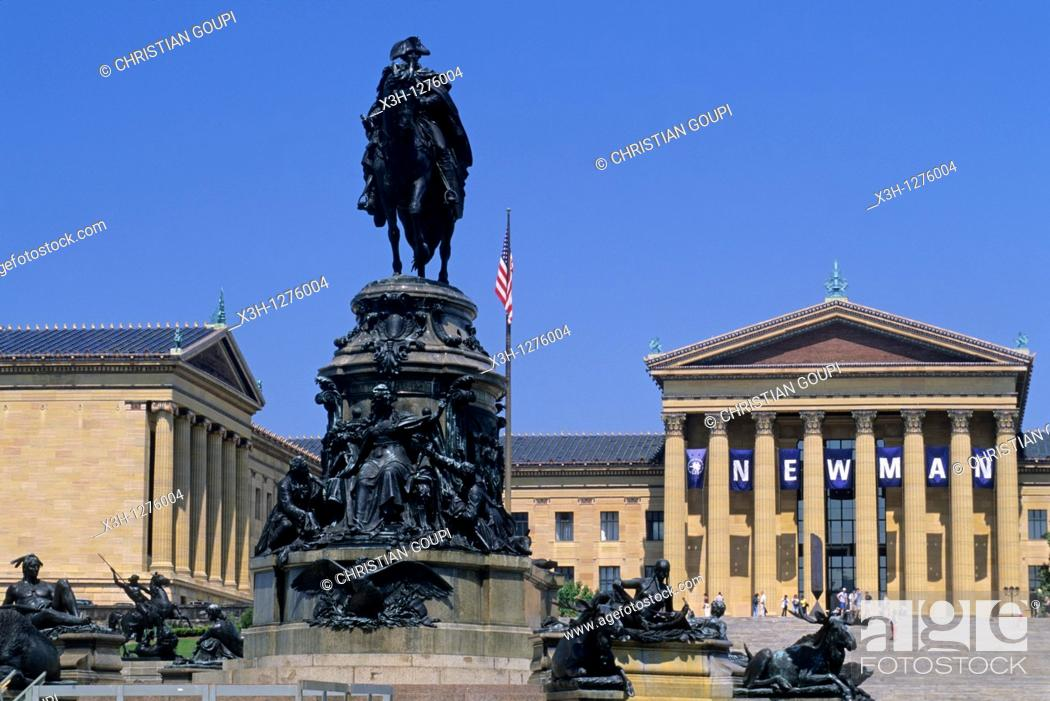 Stock Photo: equestrian statue in of G.Washington in front of the Philadelphia Museum of Art, Pennsylvania, United States.