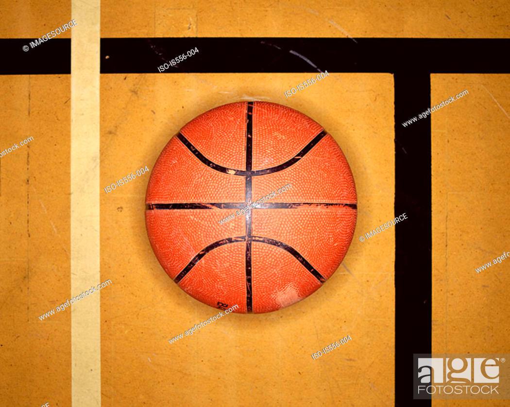 Stock Photo: Basketball on court.