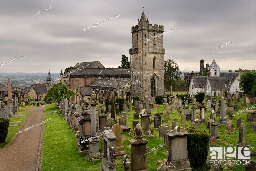 Stock Photo: Church of the Holy Rude or Holy Cross with Bell tower and Royal Cemetery with historic gravestones on Castle Hill above Stirling Scotland UK.