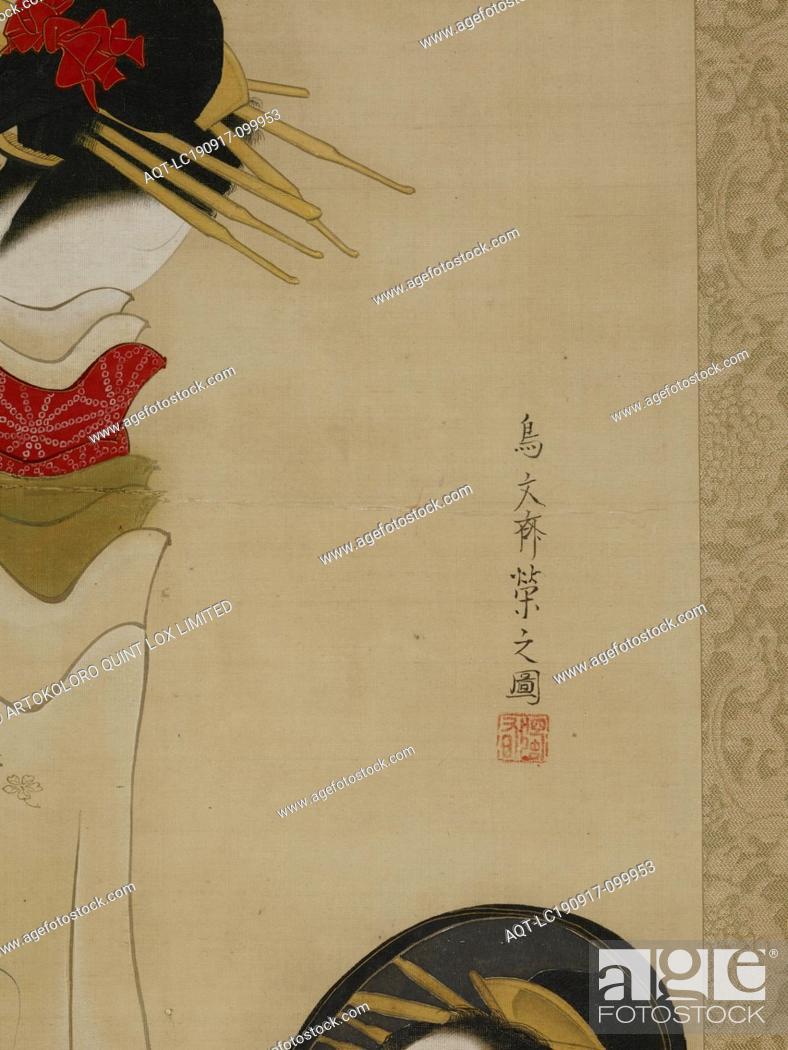 Stock Photo: A Beauty Gazing into a Mirror, Hosoda Eishi (Japanese, 1756-1829), Edo, 1756-1829, ink and color on silk, 37-7/8 x 17-1/2 in. (image) 71-1/4 x 20 in.