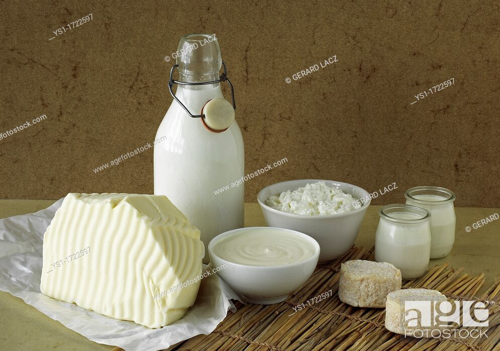 Stock Photo: Milk Based Products, Milk, Double cream, Yoghurt, Soft cheese, Butter, Cheese.