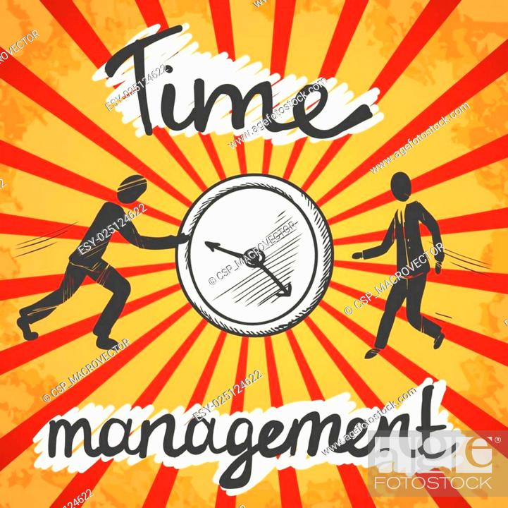 Stock Vector: Time management poster sketch.