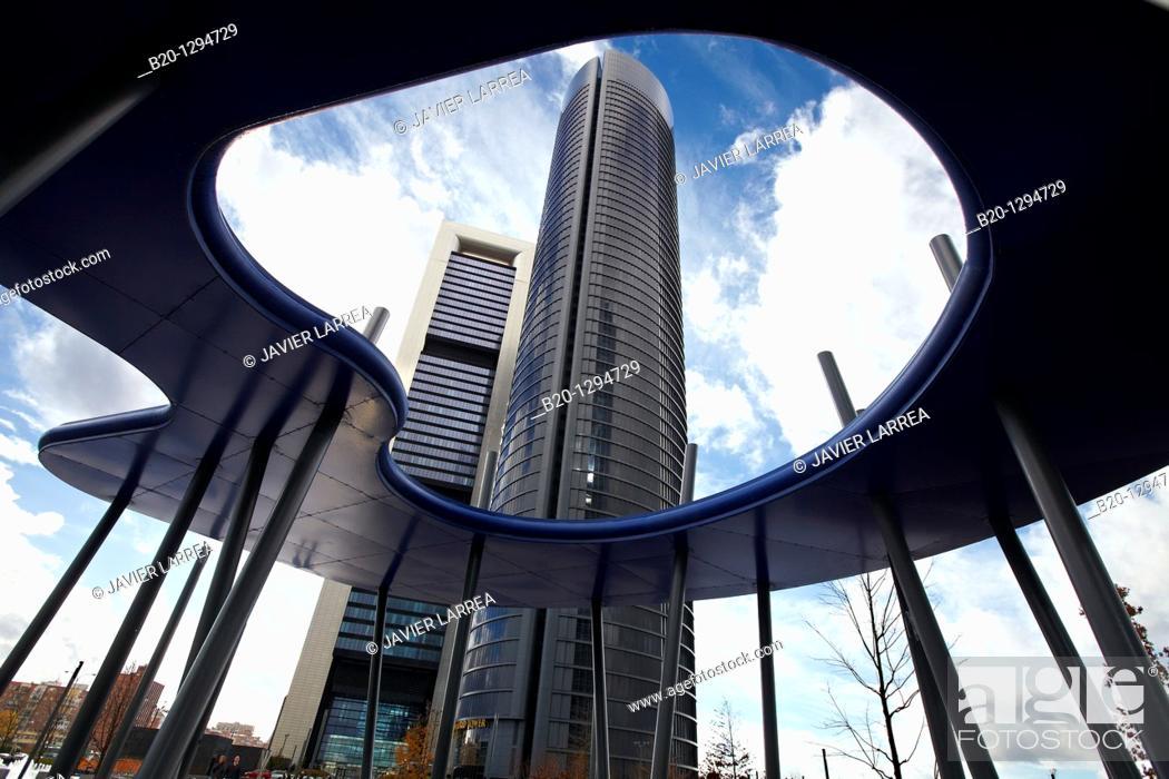 Stock Photo: Repsol Tower and Eurostars Madrid Tower Hotel, CTBA, Cuatro Torres Business Area, Madrid, Spain.