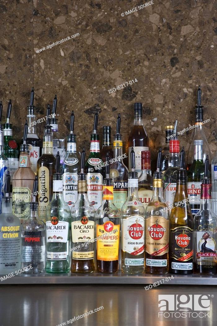 Stock Photo: Bottles of alcohol.