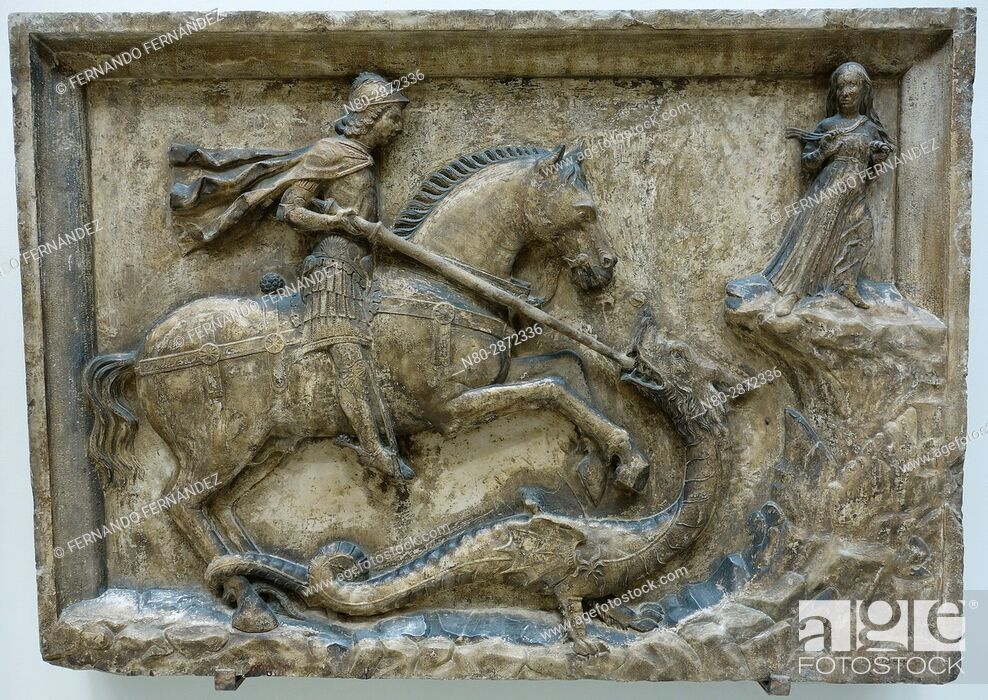 Stock Photo: St George and the Dragon Flanked by the Dandolo Arms. Italy. Venice. Istrian stone. About 1500. The Victoria and Albert Museum. London. England.