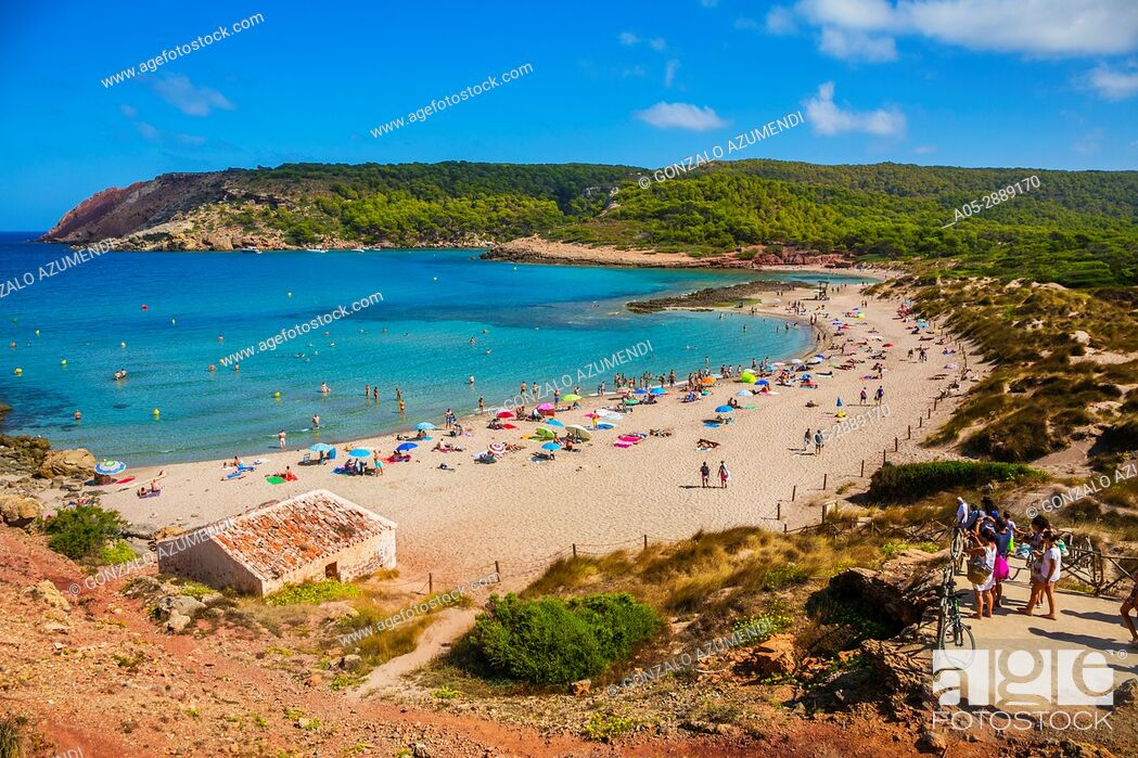 Stock Photo: Cala Algaiarens beach. Es Tancats beach. Ciutadella de Menorca Municipality. Minorca. Balearic Islands. Spain.