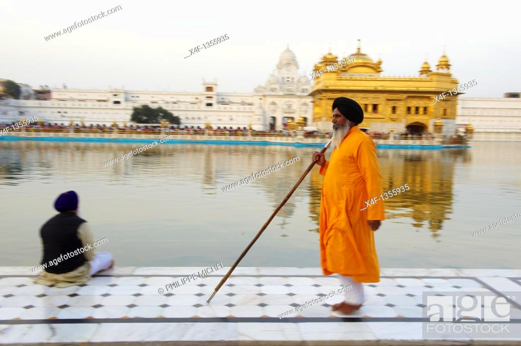 Stock Photo: India, Penjab, Amritsar, Harmandir Sahib Golden Temple, spiritual and cultural centre of the Sikh Religion.