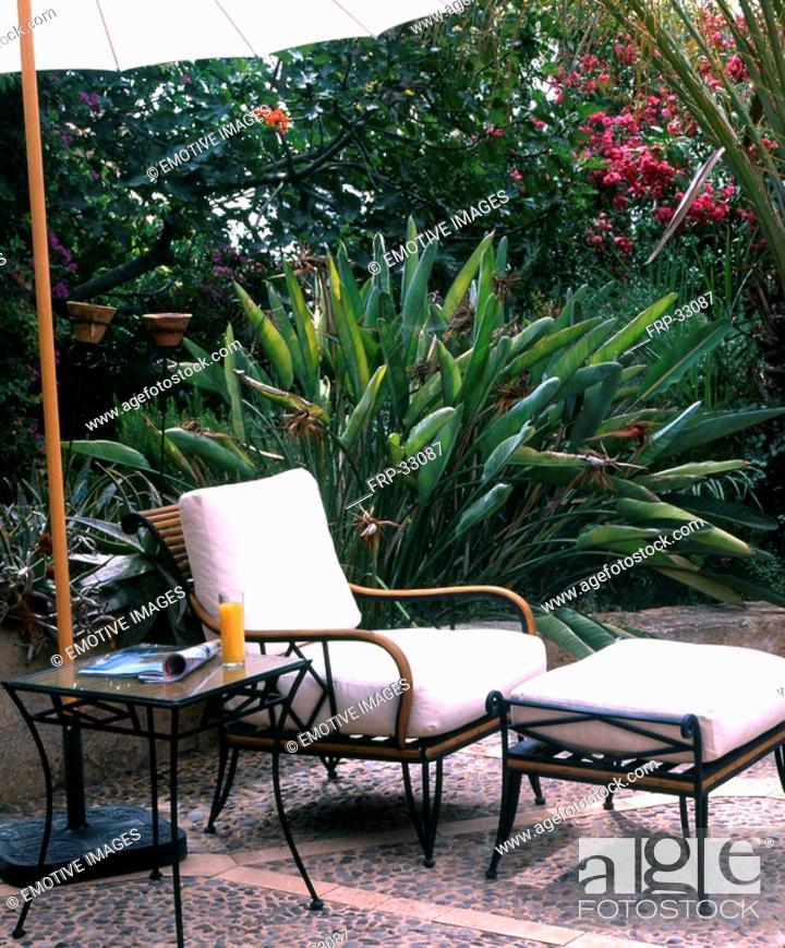 Stock Photo: Mediterranean terrace with garden furniture.