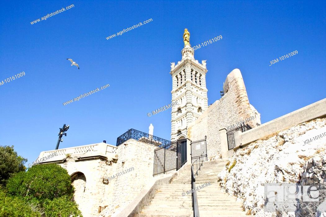 Stock Photo: Notre Dame de la Garde in Marseille, Provence-Alpes-Cote d'Azur, France.