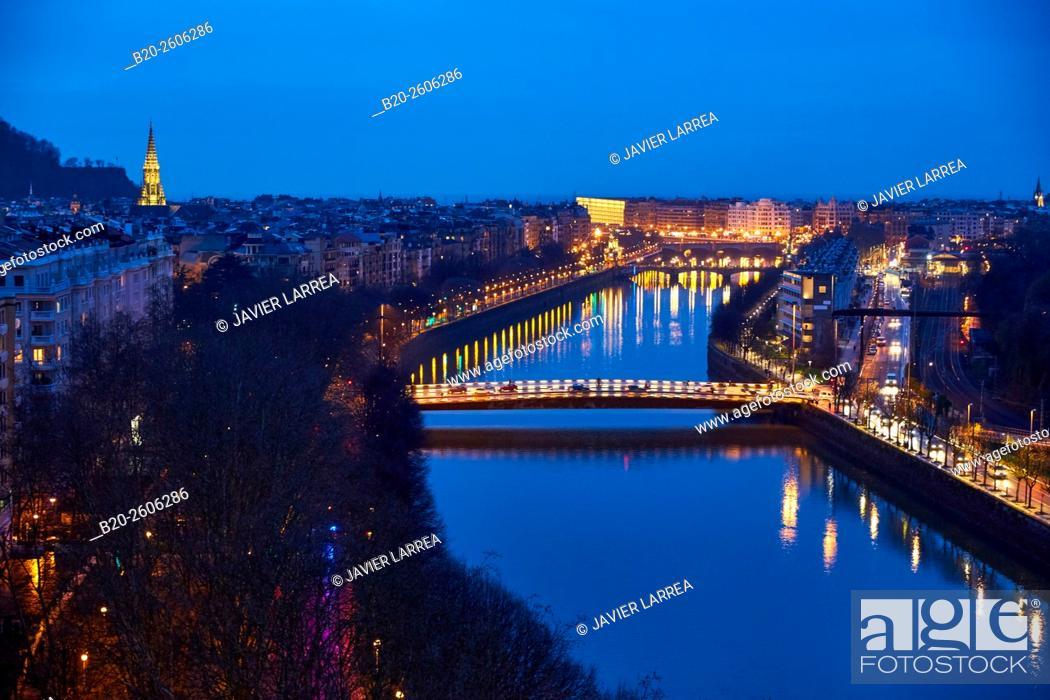 Stock Photo: Urumea River, Donostia, San Sebastian, Basque Country, Spain.