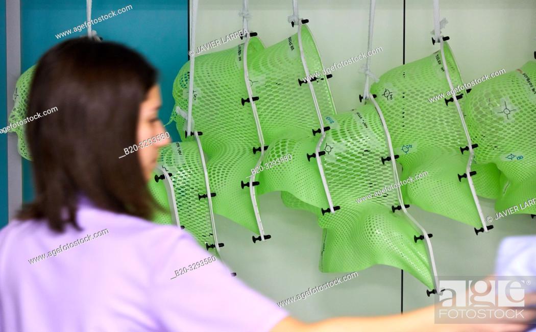 Stock Photo: Radiation therapy masks, Radiotherapy, Oncology, Hospital Donostia, San Sebastian, Gipuzkoa, Basque Country, Spain.