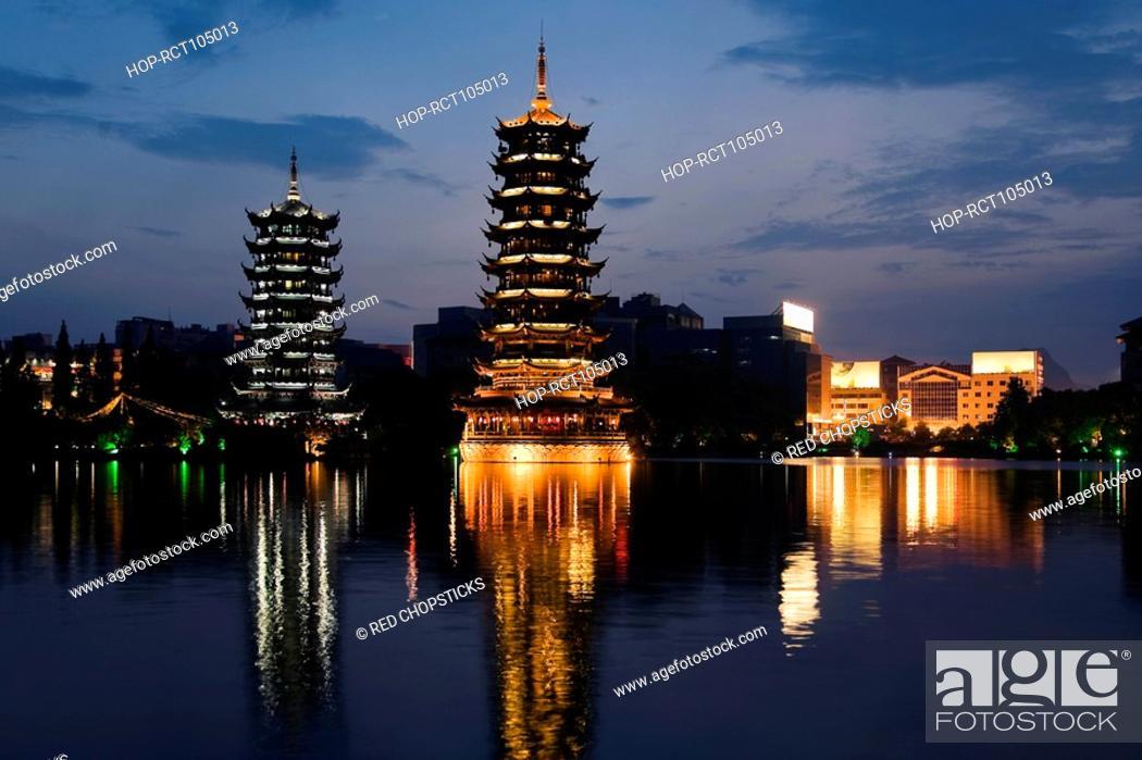 Stock Photo: Pagodas at the waterfront, Sun and Moon Pagoda, Banyan Lake, Guilin, Guangxi Province, China.