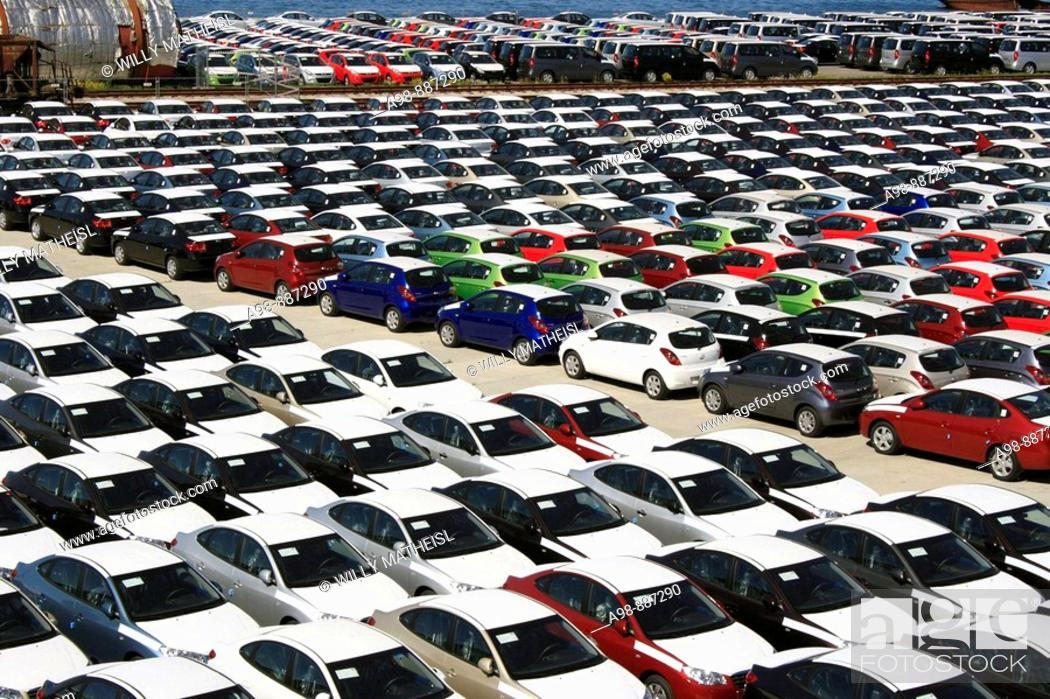 Stock Photo: looking down close up on dockside storage of imported new cars awaiting distribution at the port of Paldiski, Tallinn, Estonia.