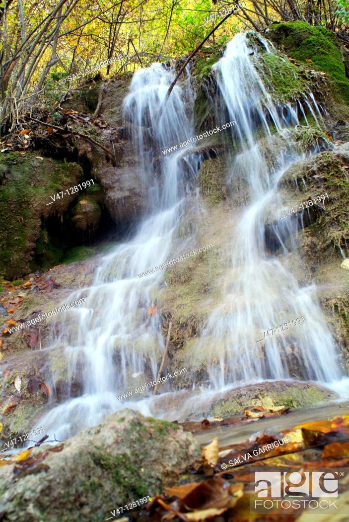 Stock Photo: source of the river Pitarque. Teruel province, Aragon, Spain.