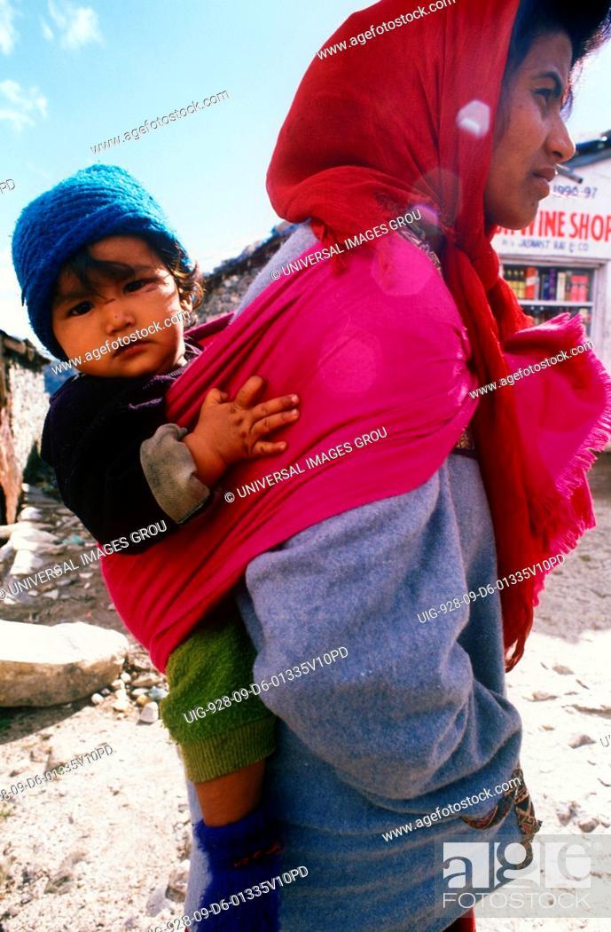 Indian Mother With Child At Kulu Manali, Himachal Pradesh