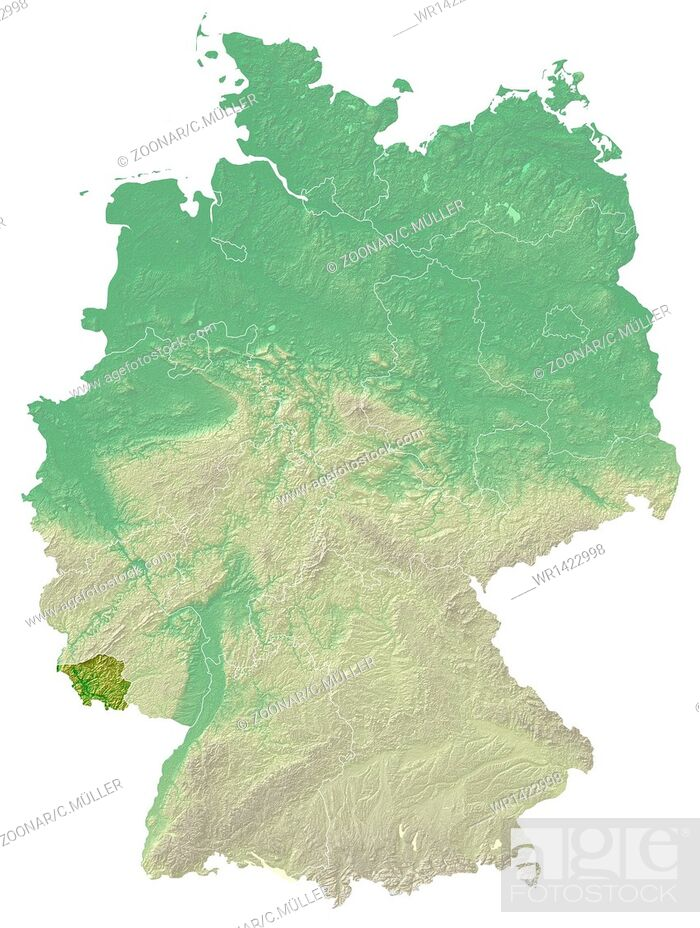 Stock Photo: Saarland - topographical relief map Germany.