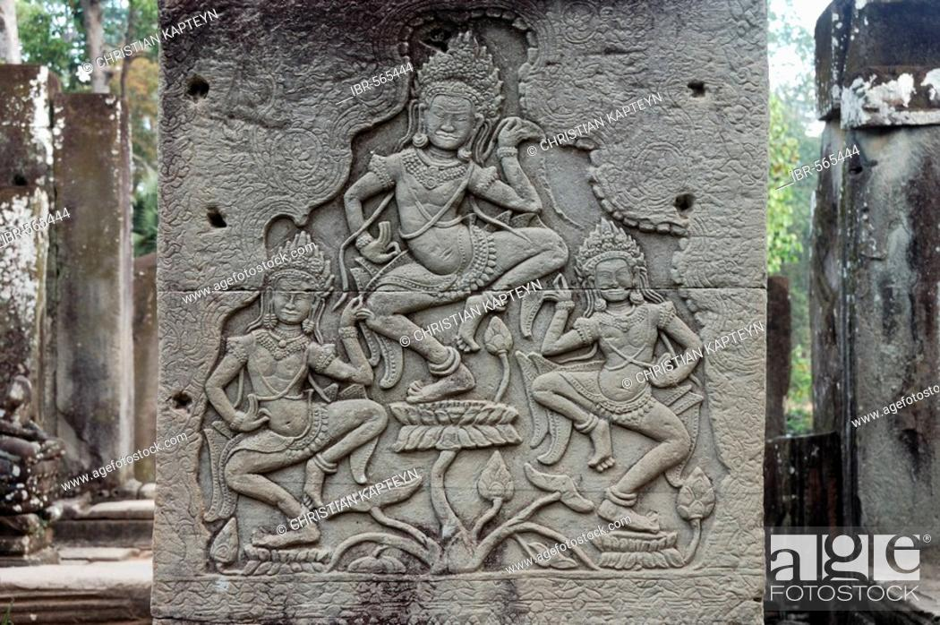 Stock Photo: Relief of dancers, Bayon temple, Angkor Wat, Siem Reap, Cambodia, Asia.