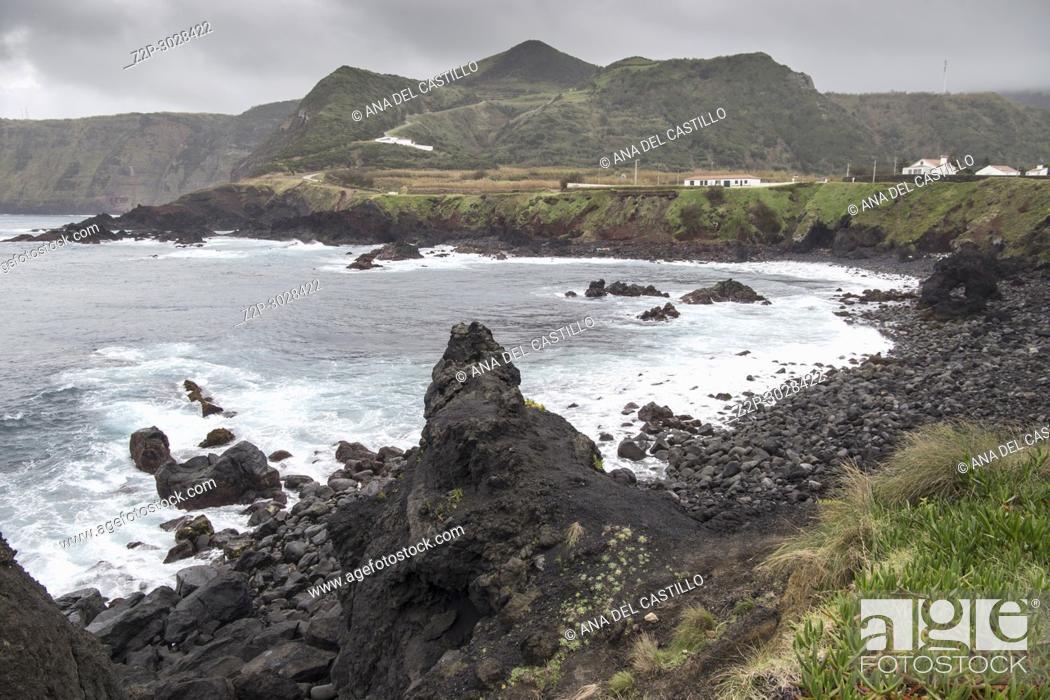 Stock Photo: Wavy ocean in Mosteiros coast Sao Miguel island. Azores archipielago, Portugal.