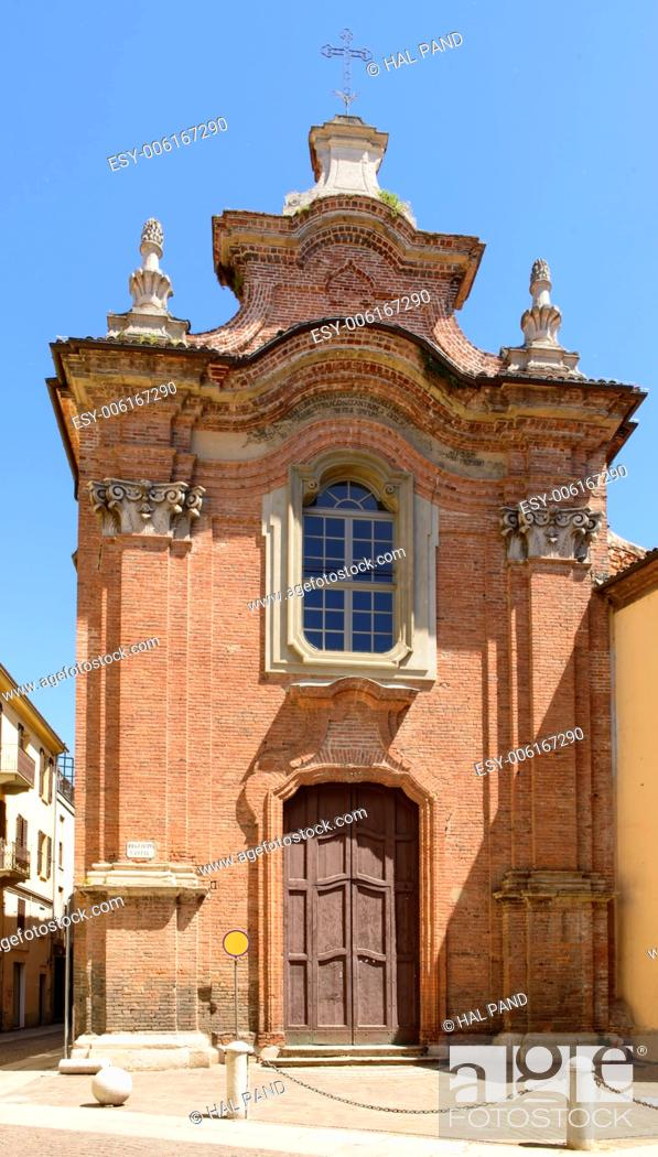 Stock Photo: Holy Lucia Church, Alessandria, Italy, view of the little old church in city historical center.