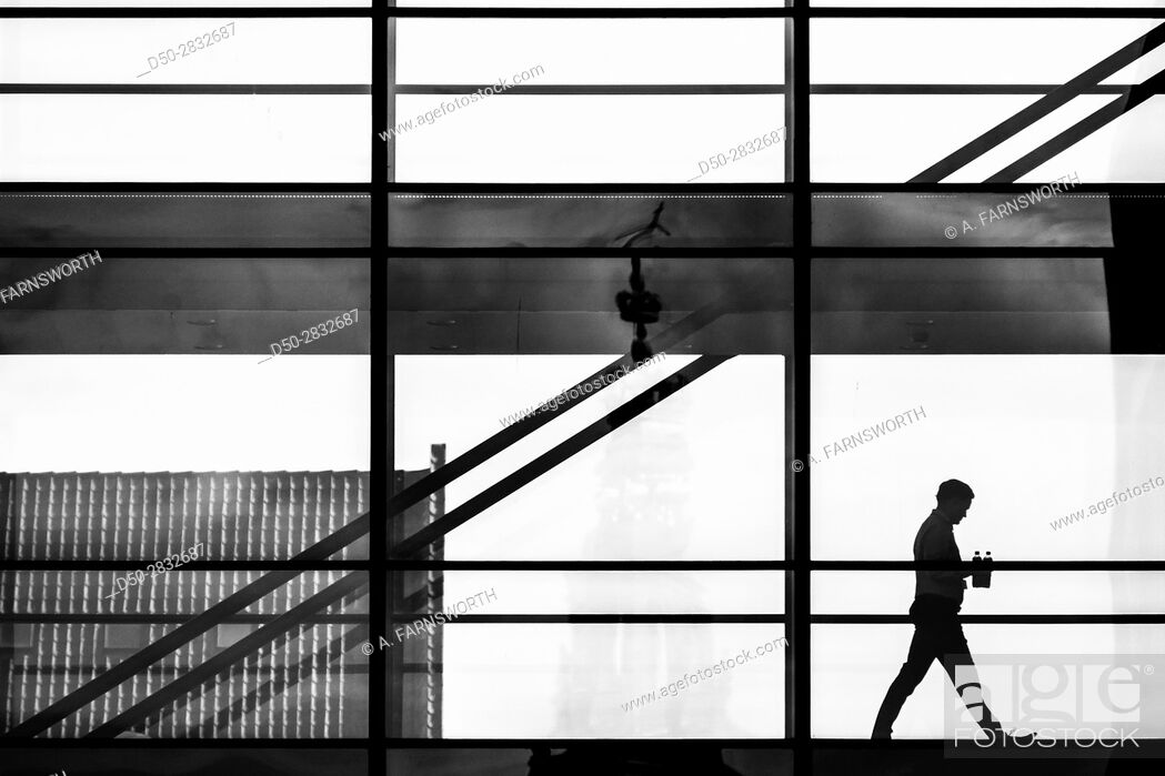 Photo de stock: COPENHAGEN DENMARK Man walks in office building.