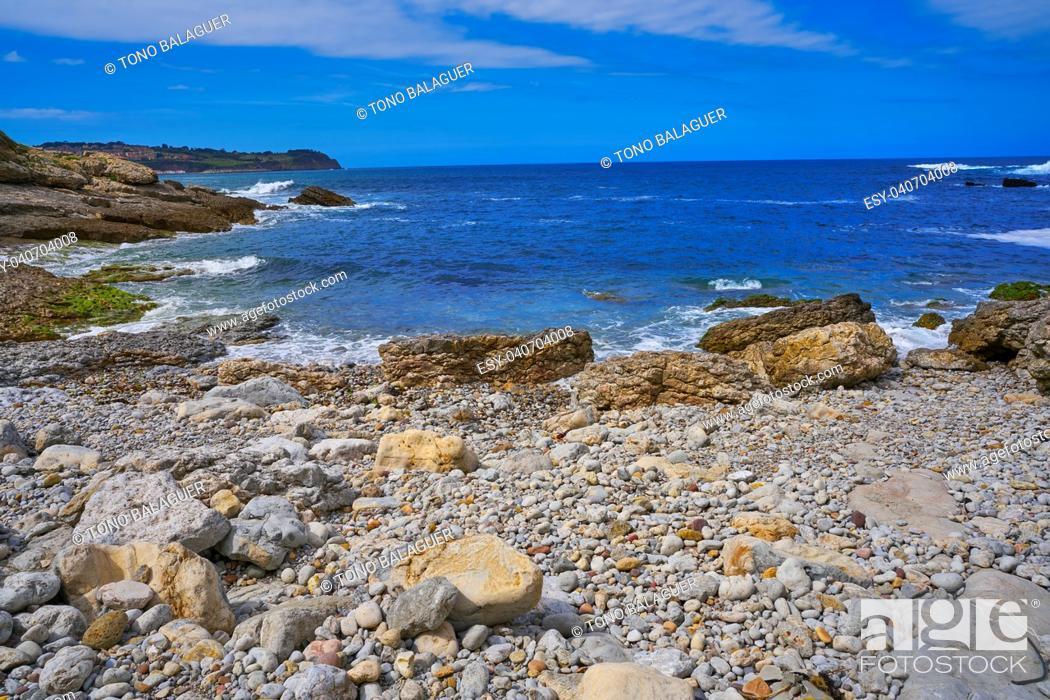 Stock Photo: Antromero beach of Cristales with glass stones in Asturias of Spain.