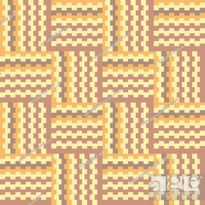 Stock Vector: Geometric crisscross pattern in brownish earth tones.