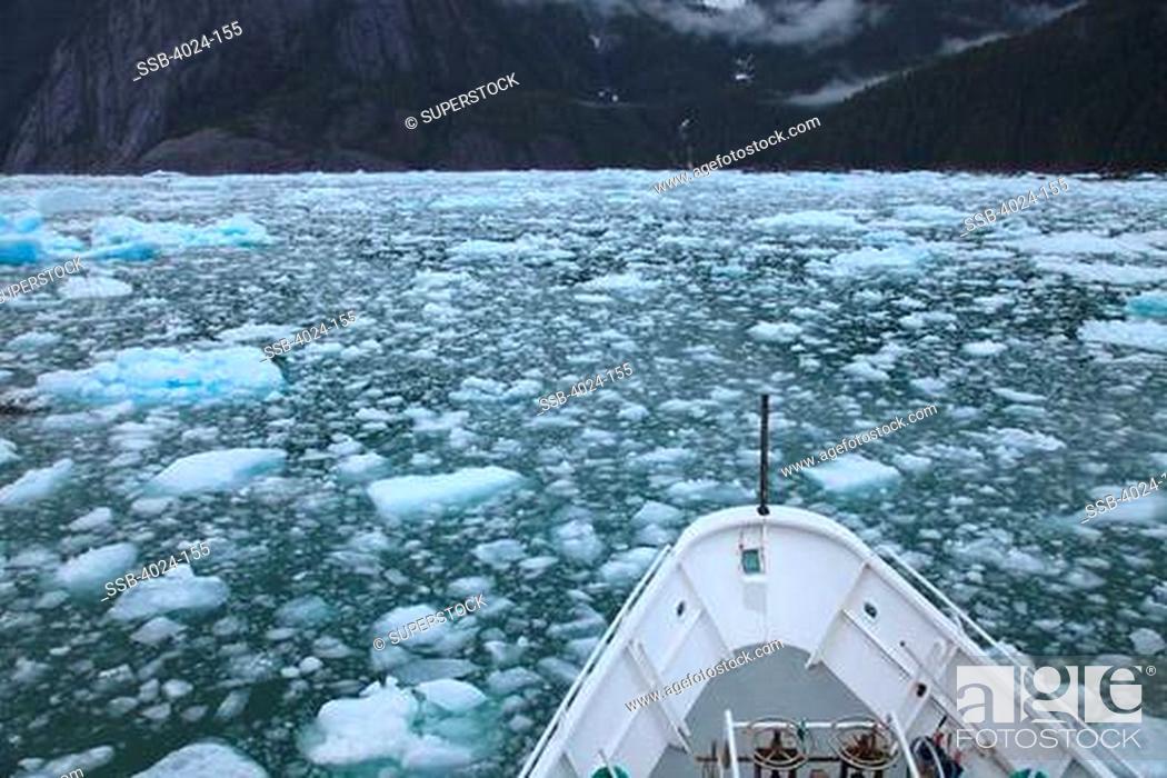 Stock Photo: Ship in the sea, LeConte Glacier, Inside Passage, Alaska, USA.
