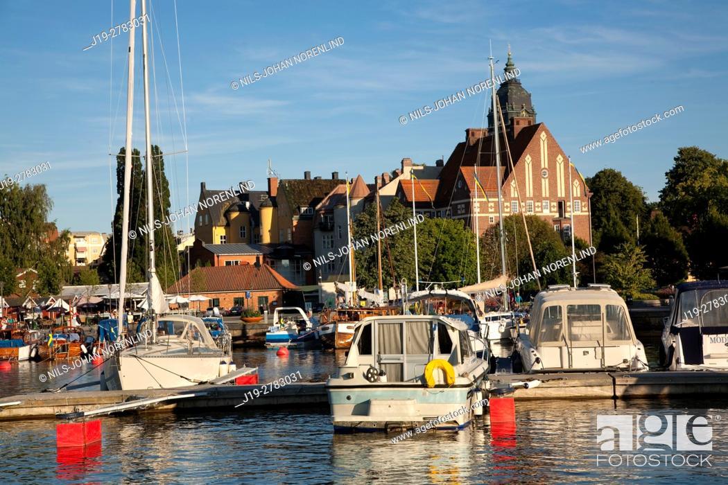 Stock Photo: Boats at port Strängnäs, Sweden.