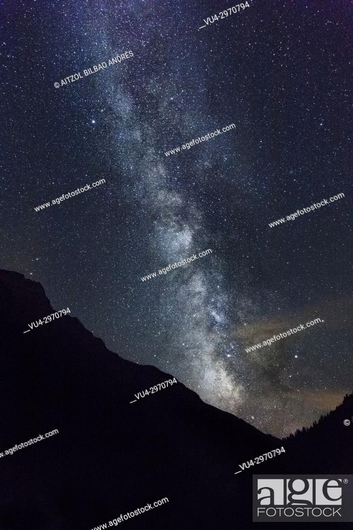 Stock Photo: Milky way over Bujaruelo valley, Huesca Pyrenees, Spain. A perfect place to shoot the milky way.