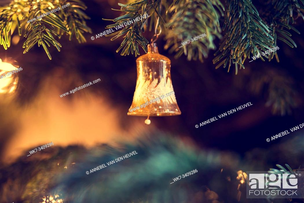 Stock Photo: Close-up of decorations on christmas tree during christmas time at home colorful.